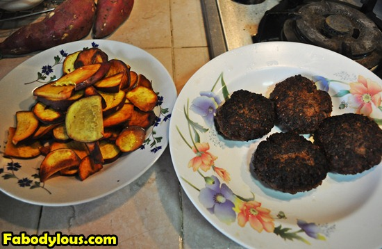 Sweet Potato Chips and Home Made Burger Recipe