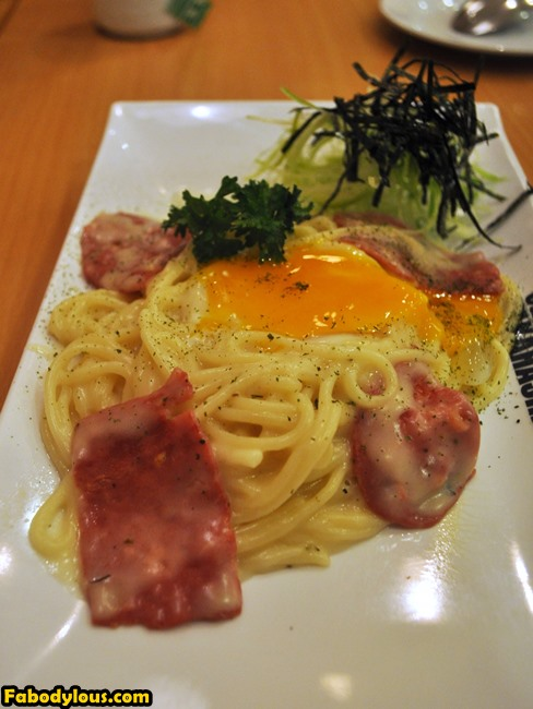 Cabonara pasta with bacon and egg.