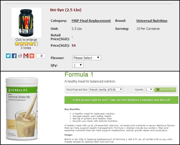 Now let's talk about their meal replacement supplement. Herbalife's Formula 1 costs $75.82 for 750g whereas Universal Nutrition's Uni-Syn costs $54 for 1.14kg. And look at the instructions for Formula 1! They require users to mix it with milk because at 25g per serving, that's simply not enough calories to replace a meal! Thus, it's not a complete meal replacement by itself. On the other hand, Uni-Syn is 79g/295kcal per serving, and you can just take it with water.