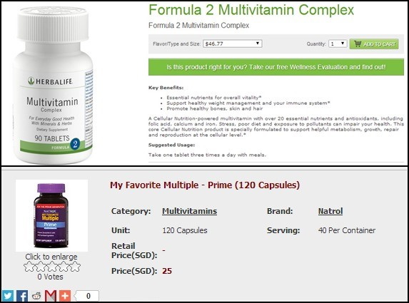 Let's start by comparing Herbalife's multivitamins with Natrol's. Herbalife gives 90 capsules/30 days for $46.77 and Natrol gives a 40 day supply for almost half that price!